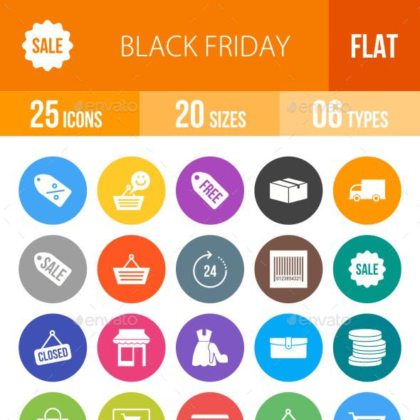 Black Friday Flat Round Icons