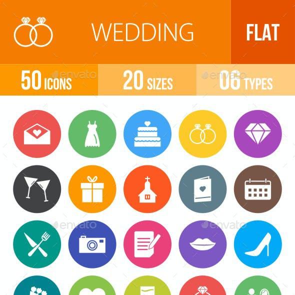Wedding Flat Round Icons