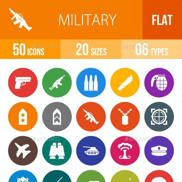 Military Flat Round Icons
