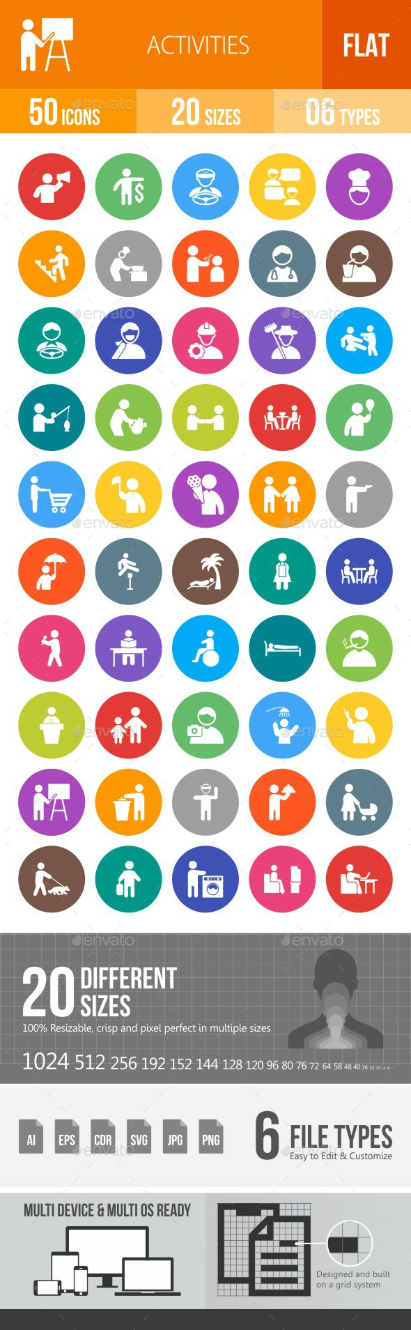 Activities Flat Round Icons - Icons
