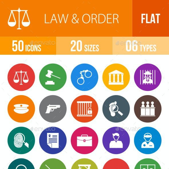 Law & Order Flat Round Icons