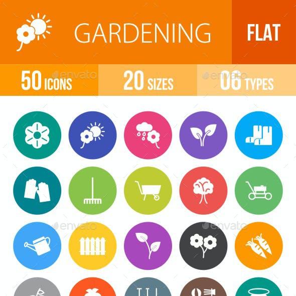 Gardening Flat Round Icons