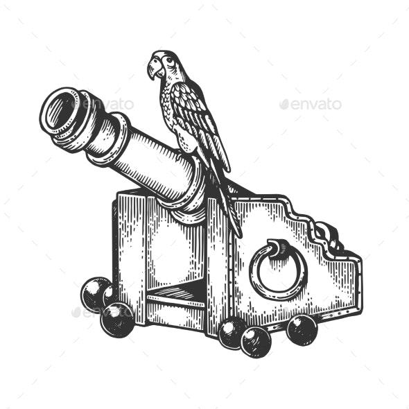 Parrot on Cannon Engraving Vector Illustration - Miscellaneous Vectors