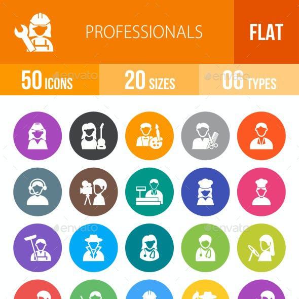 Professionals Flat Round Icons