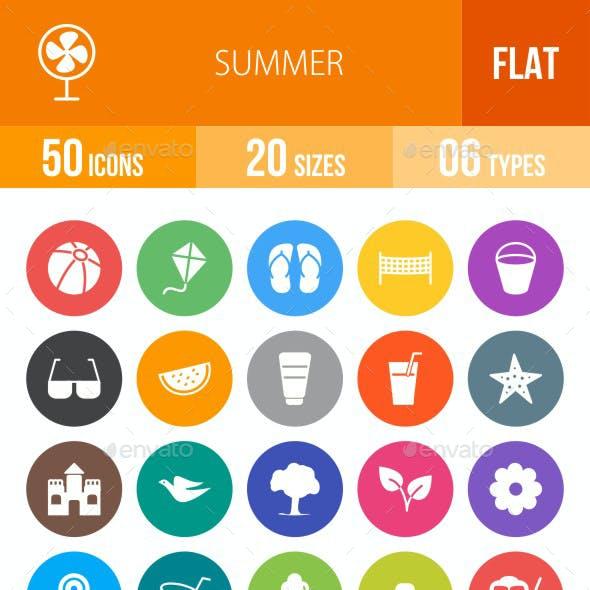 Summer Flat Round Icons