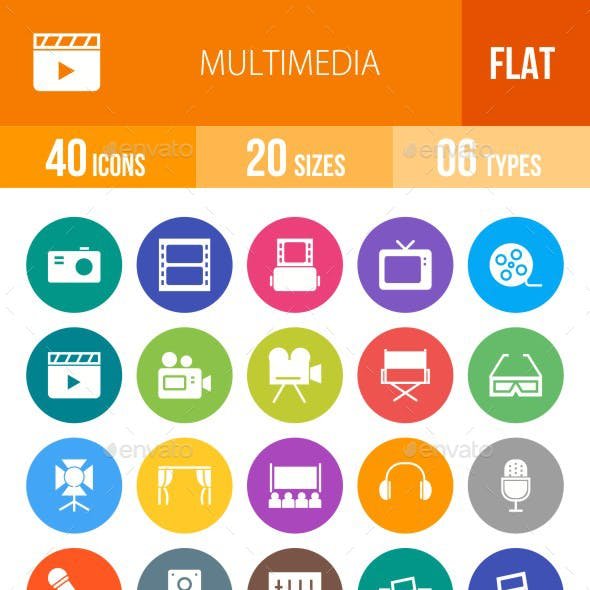 Multimedia Flat Round Icons