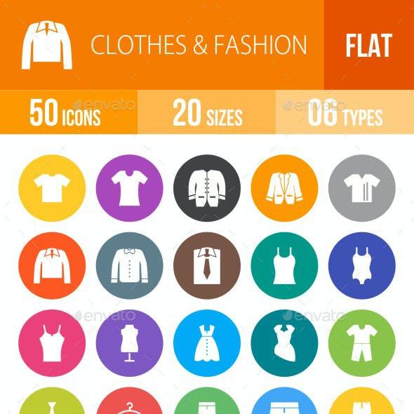 Clothes & Fashion Flat Round Icons
