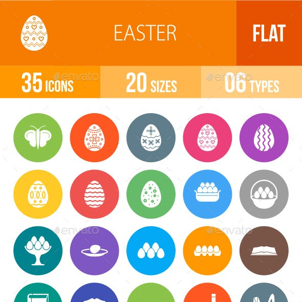 Easter Flat Round Icons