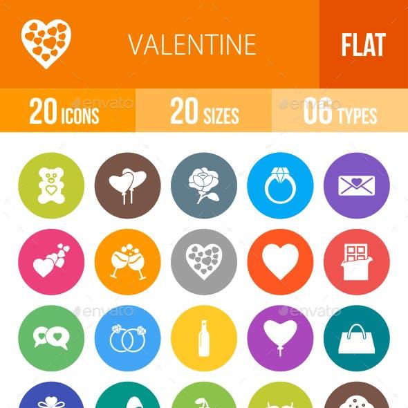 Valentine Flat Round Icons
