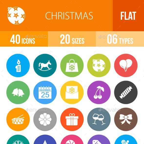 Christmas Flat Round Icons