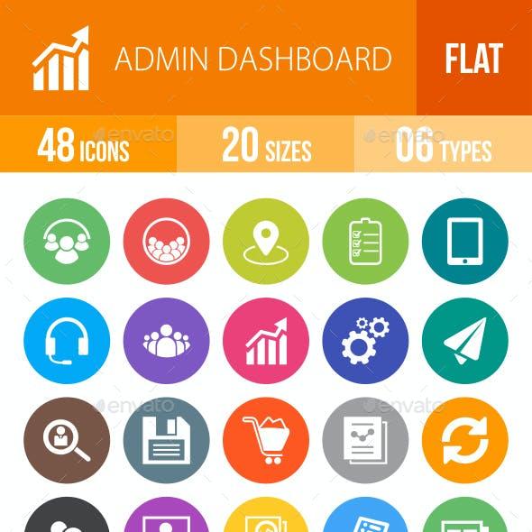 Admin Dashboard Flat Round Icons