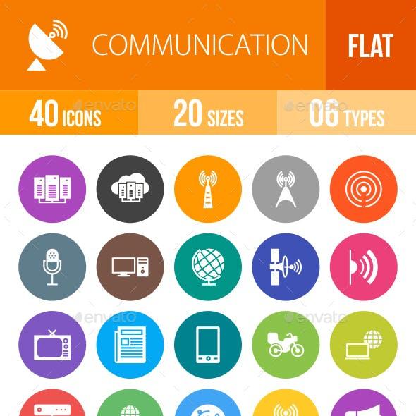Communication Flat Round Icons