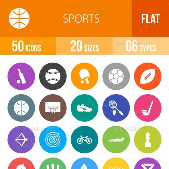 Sports Flat Round Icons
