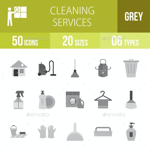 Cleaning Services Greyscale Icons