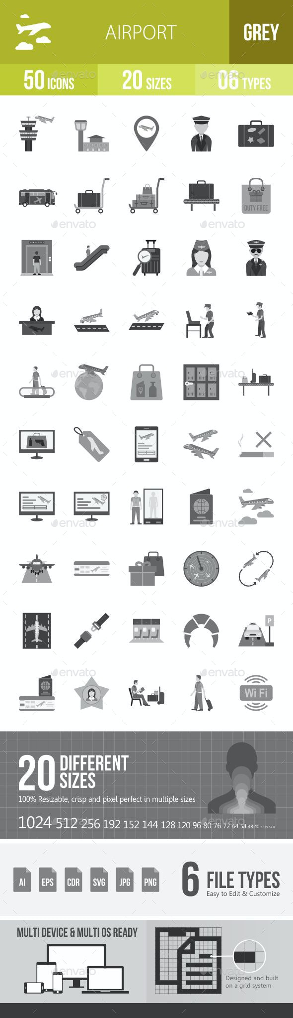 Airport Greyscale Icons - Icons