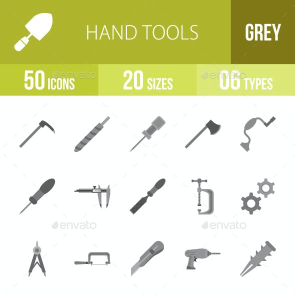 Hand Tools Greyscale Icons