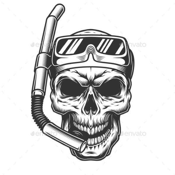 Skull in the Diving Mask - Miscellaneous Vectors