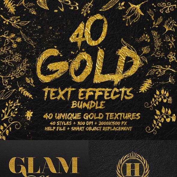 40 Gold Text Effects Bundle