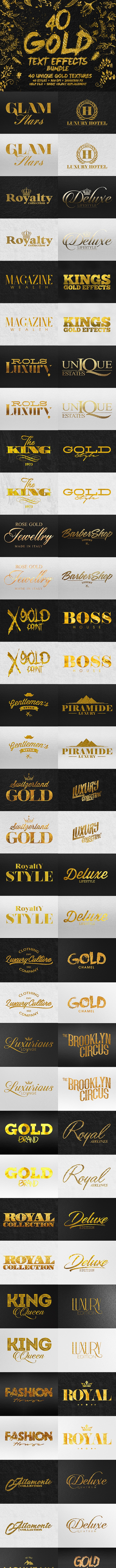 40 Gold Text Effects Bundle - Text Effects Actions