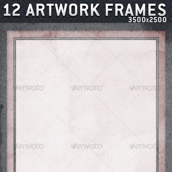 12 Artwork Frames with Paper Texture in 3500x2500