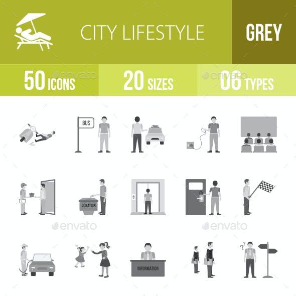 City Lifestyle Greyscale Icons