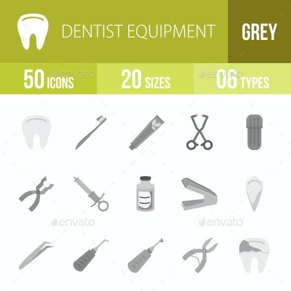 Dentist Equipment Greyscale Icons