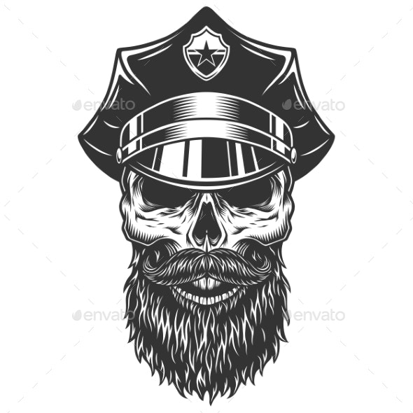 Skull in the Policeman Hat - Miscellaneous Vectors