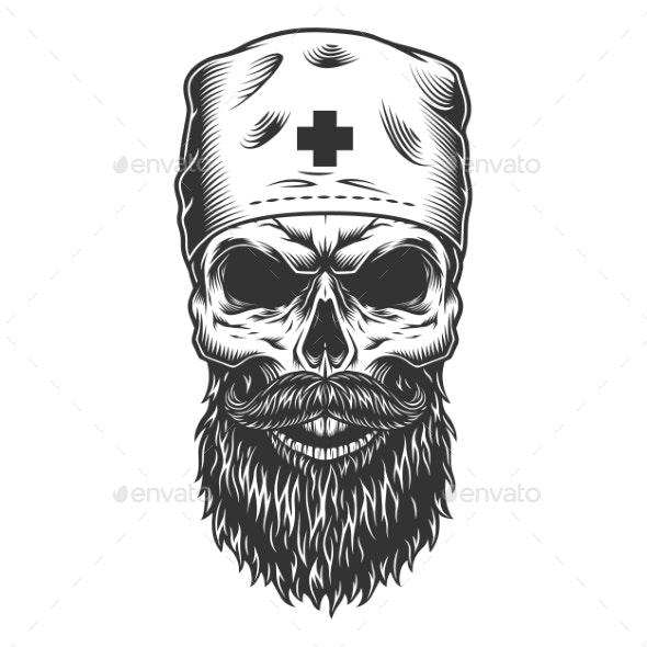 Skull in the Medical Hat - Health/Medicine Conceptual