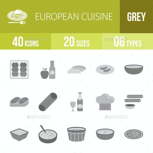 European Cuisine Greyscale Icons