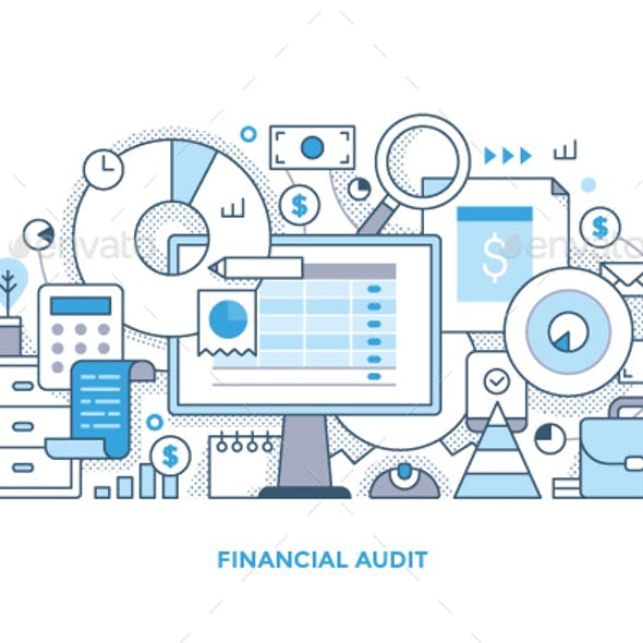 Financial Audit Line Illustration