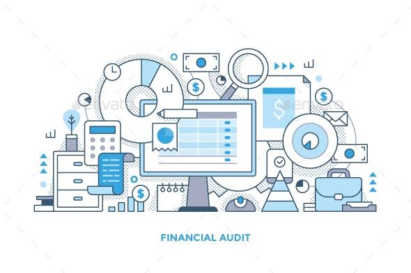 Financial Audit Line Illustration - Concepts Business