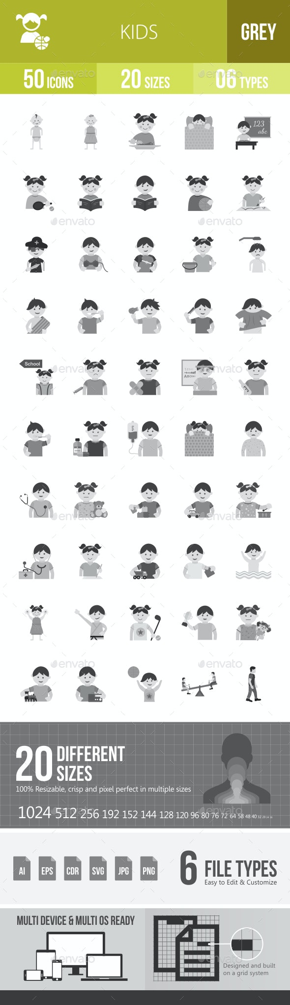 Kids Greyscale Icons - Icons