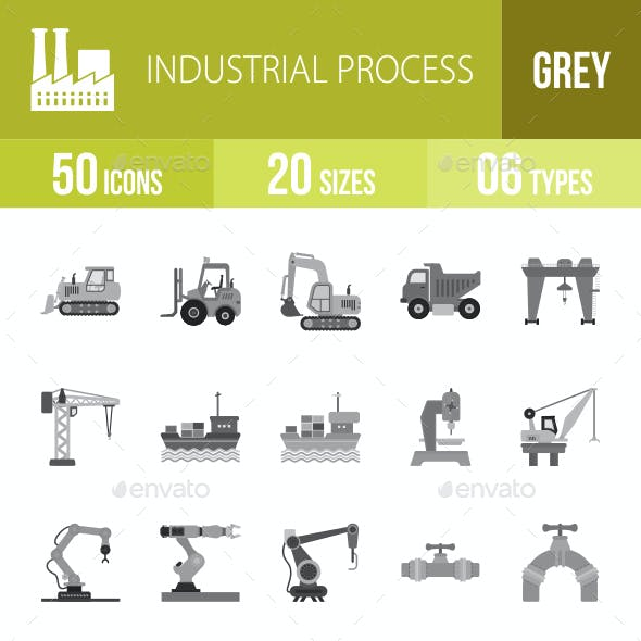 Industrial Process Greyscale Icons