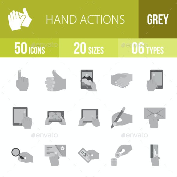 Hand Actions Greyscale Icons