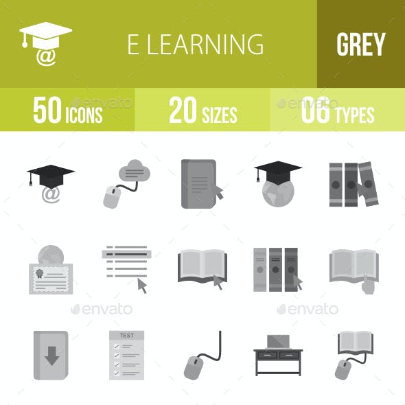 E Learning Greyscale Icons