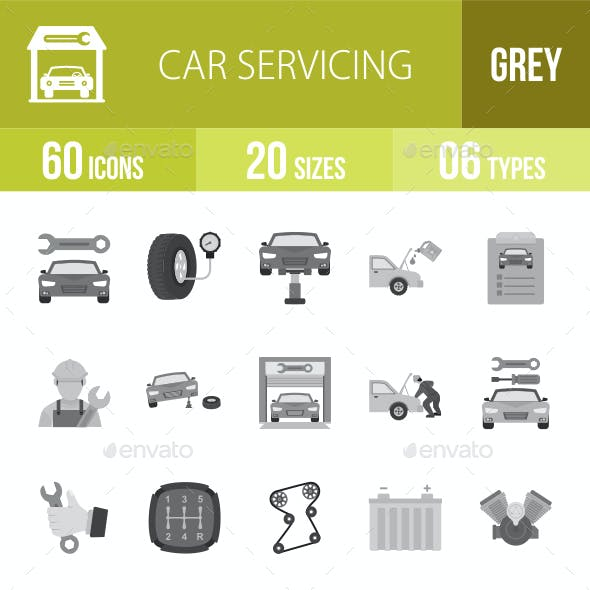 Car Servicing Flat Round Icons