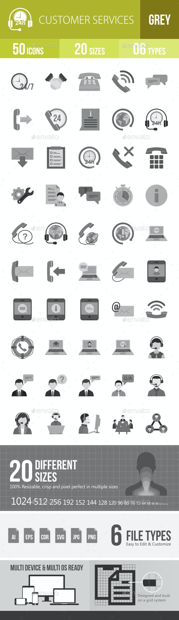 Customer Services Flat Round Icons - Icons