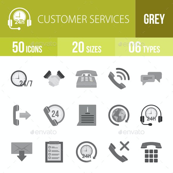 Customer Services Flat Round Icons