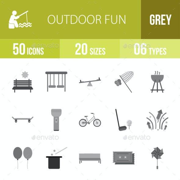 Outdoor Fun Flat Round Icons