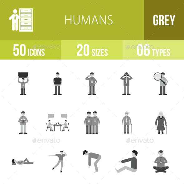 Humans Flat Round Icons