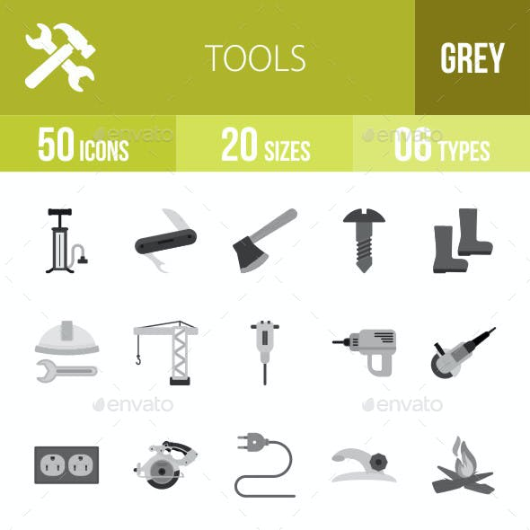 Tools Flat Round Icons