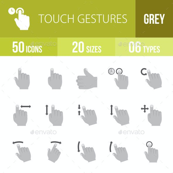Touch Gestures Flat Round Icons
