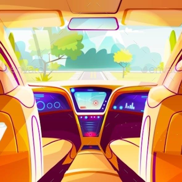 Smart Car Inside Interior Vector Illustration