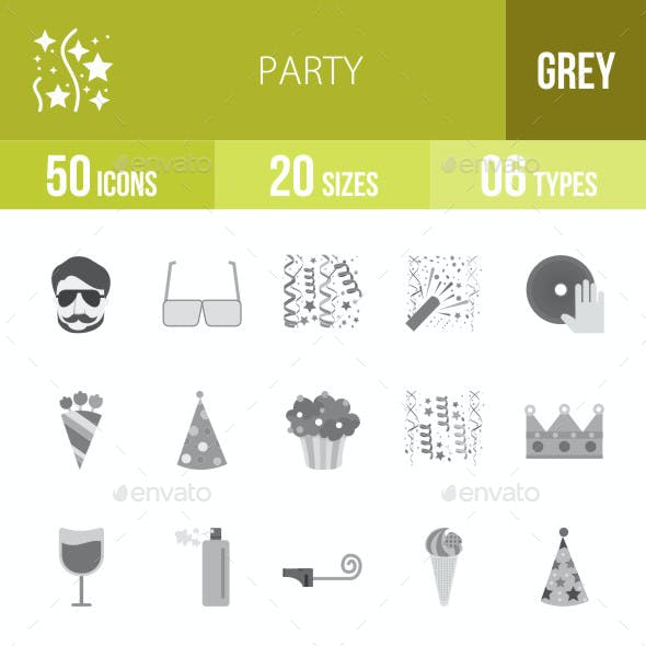 Party Flat Round Icons