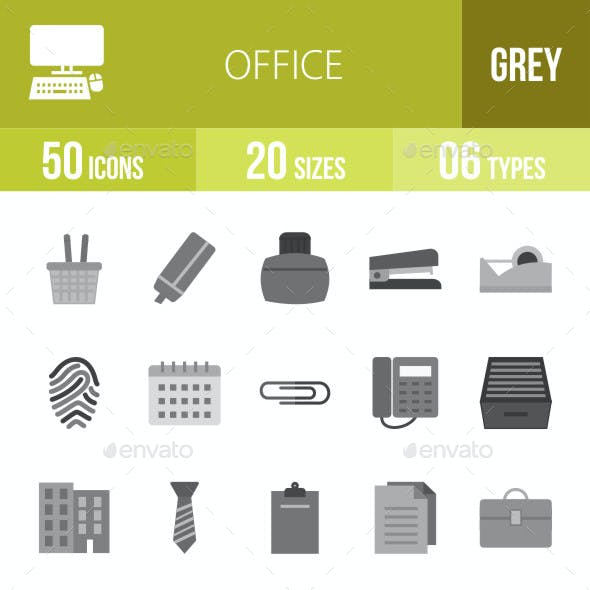 Office Flat Round Icons