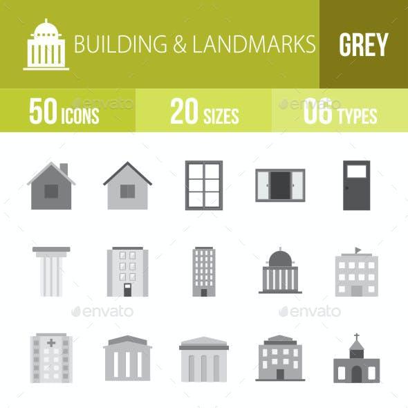 Buildings & Landmarks Flat Round Icons