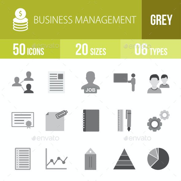 Business Management Flat Round Icons
