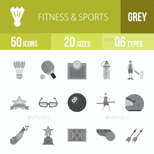 Fitness & Sports Flat Round Icons