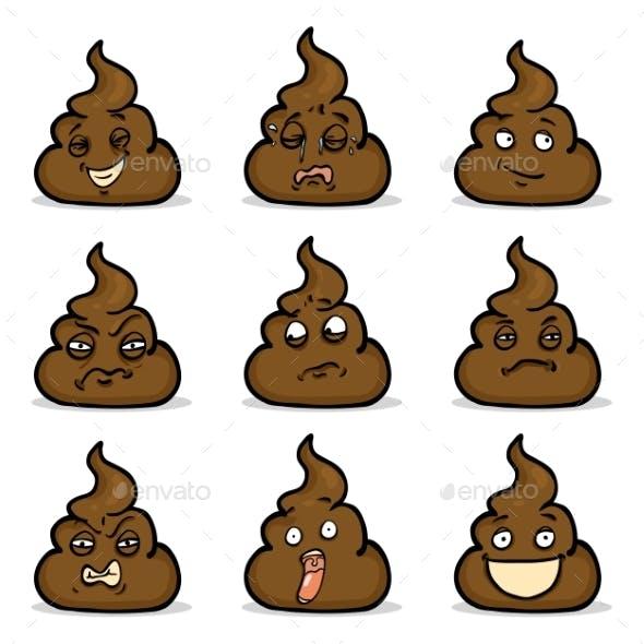 Vector Set of Turd Emoticons