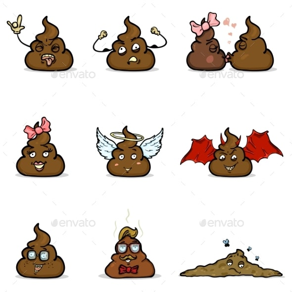 Vector Set of Cartoon Turd Characters - Miscellaneous Characters